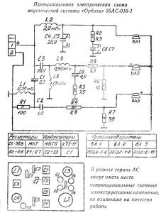Принципиальная электрическая схема акустической системы Орбита 35АС-016